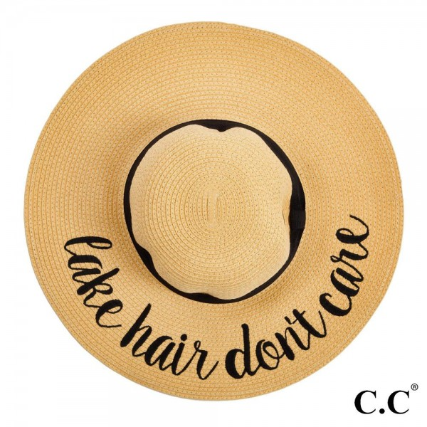 "C.C ST-2017, wide-brim floppy beach hat featuring ""Lake Hair Don't Care"". This hat is crushable/packable and able to hold it's shape. Brim measures 4"" in width and hat is 15.5"" in total diameter. UPF 50+  One size fits most.  Composition: 100% Paper."