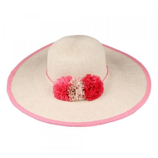 C.C brand ST-707 brim hat with paper flower band. 80% paper straw and 20% polyester. UPF 50+