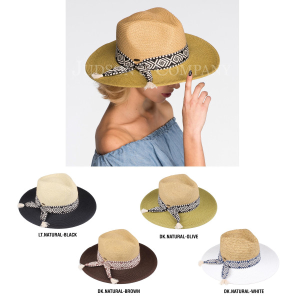 C.C brand ST-702 straw panama hat wit aztec band. 80% paper straw and 20% polyester. UPF 50+