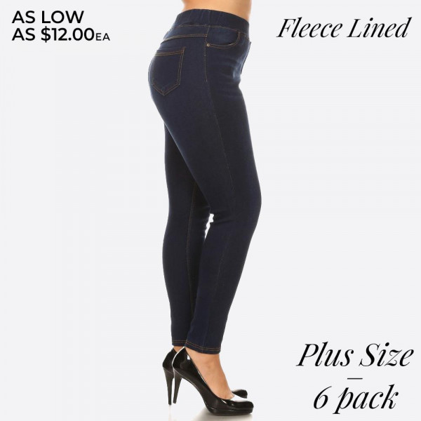Plus size women's fleece-lined jeggings. These jeggings are styled to resemble a pair of jeans. Get both comfort and style!  - Super stretchy  - Pull up style  Denim shade and tone may vary.  Please note, this brand runs very small. Be sure to check measurements on size chart for the most accurate fit.   Pack Breakdown: 6pcs / pack  Sizes: 2-XL / 2-1X / 2-2X  Composition: 76% Cotton, 22% Polyester, 2% Spandex