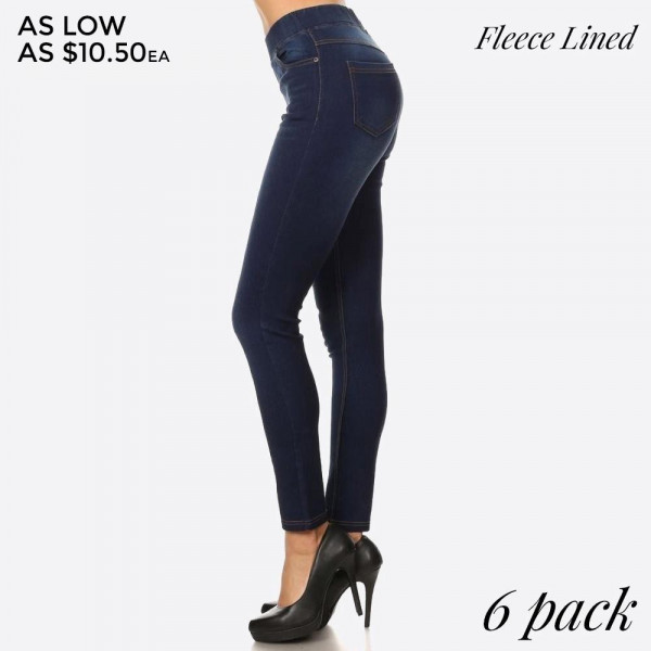 Fleece lined denim skinny jeggings in a fit style.