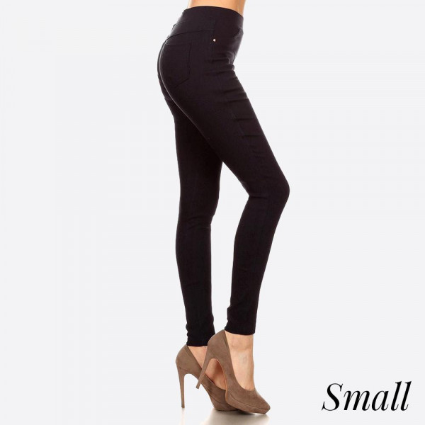 Easy pull on styling with elastic waistband for all day comfort providing all around ease roominess.This jegging is done in a very flattering skinny fit. Best solution to all body shapes. 60% cotton, 35% polyester, and 5% spandex. Size small.