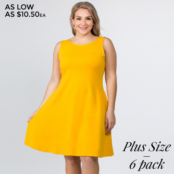 This adorable a-line dress features a sleeveless silhouette and two side pockets for carrying loose items.   • Sleeveless, round neck  • Two functional pockets at hips • A-line silhouette  • Knee length hem  • Stretchy and soft  • Import   Composition: 92% Cotton, 8% Spandex   Pack Breakdown: 6pcs/pack. 2XL: 2XXL: 2XXXL