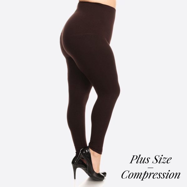 "High Waist Compression Leggings. Tummy Control for extra hold. These high waist leggings have a compression control top that flattens your tummy and contours your waistline for an hourglass silhouette.   • Long, skinny leg design  • Does not ball or pill  • Comfortable and easy pull-on style  • Solid color  • Very Stretchy  • Tummy Control  • Hight Waist  • 8"" Waist Band, 37"" Full Length   One size fits most Plus 16-22.  Content: 55% viscose, 40% polyester, 5% spandex"