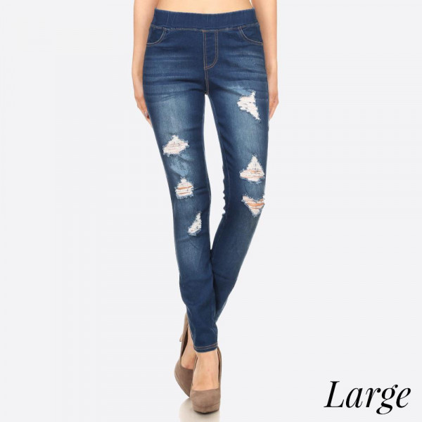Women's Classic Distressed Skinny Jeggings. These jeggings are styled to resemble a pair of jeans. Get both comfort and style!  • Super Stretchy  • Pull up Style  Composition: 76% Cotton, 22% Polyester, 2% Spandex