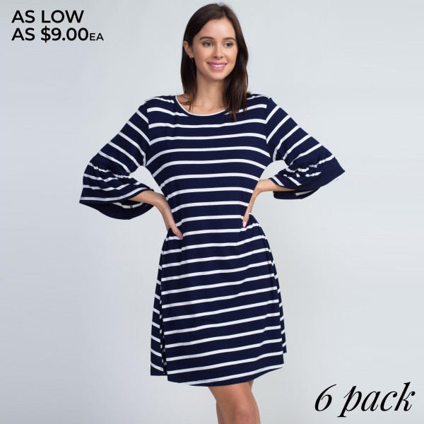 You can't go wrong in a striped dress like this in your wardrobe! Ruffled 3/4 sleeves add a feminine charm to this relaxed shift dress. Pair with booties for a cute weekend look. 
