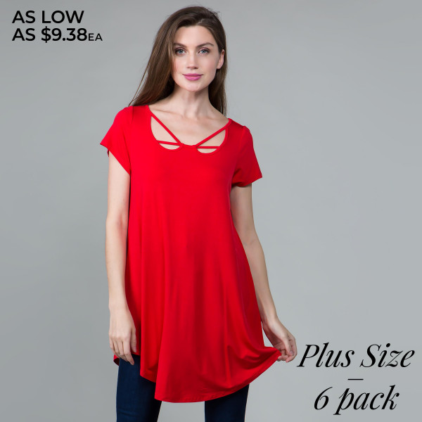 Basic tunic dress with a criss cross v-neck and comfortable fit. 95% rayon- 5 % spandex. Comes in 6 pack. Breakdown: 2-1XL, 2- 2XL , 2-3XL.