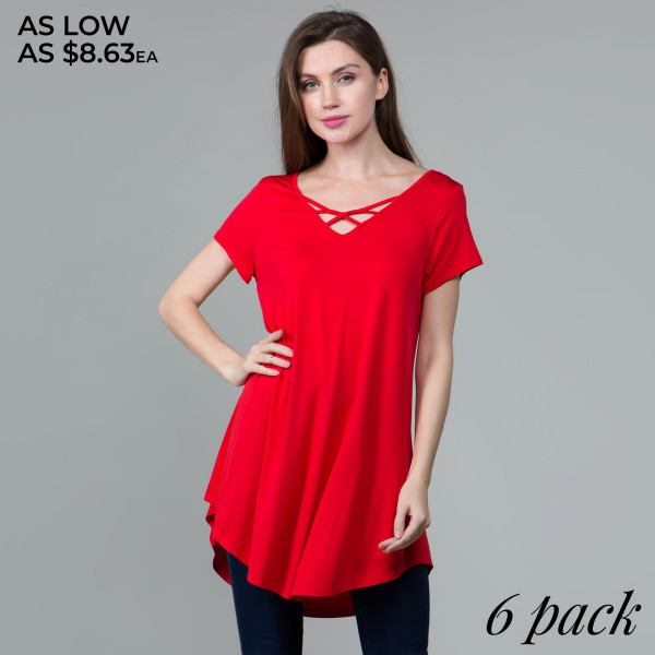 This basic tunic dress looks and feels amazing. It's highly versatile and includes a criss cross v-neck. 95% rayon- 5 % spandex.  Comes in 6 pack. Breakdown: 1S 2M 2L XL.