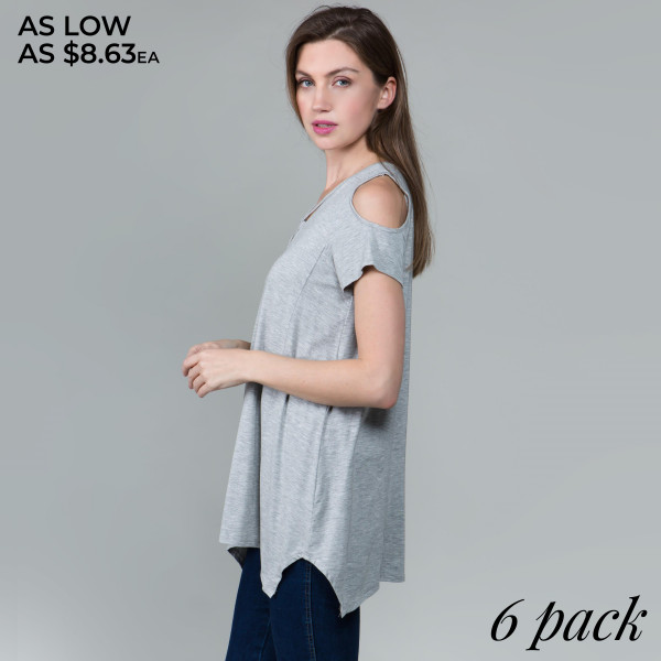 This basic modal cold shoulder looks and feels amazing.it's highly versatile with shark bite hem. . 95% rayon- 5 % spandex.  Comes in 6 pack. Breakdown: 1S 2M 2L XL.