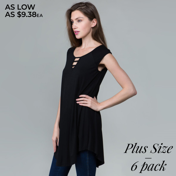 This basic tunic dress looks and feels amazing.it's highly versatile with neck line detail. 95% rayon- 5 % spandex. Comes in 6 pack. Breakdown: 2-1xl, 2-2xl, 2-3xl.