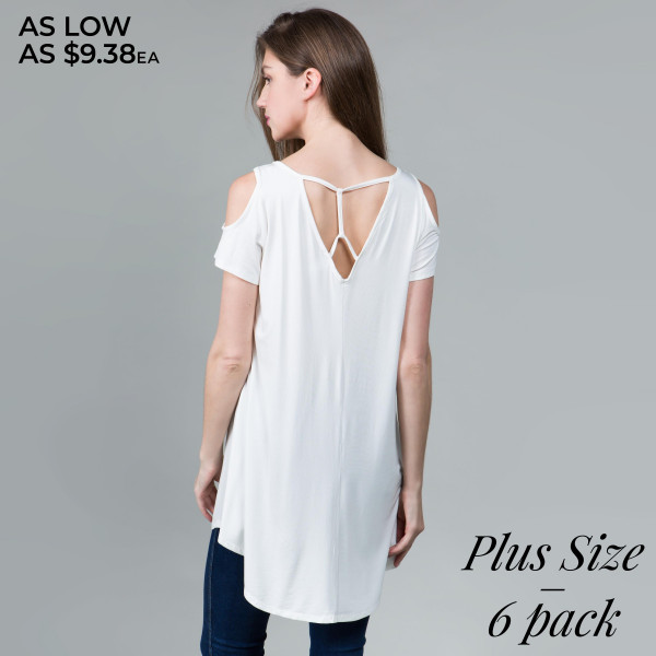 """Solid color plus size tunic top/dress. Approximately 35"""" in length.  - Scoop neckline  - Cold shoulder - Criss cross back   - Pack Breakdown: 6pcs / pack - Sizes: 2-XL / 2-1X / 2-2X - 95% Rayon, 5% Spandex"""