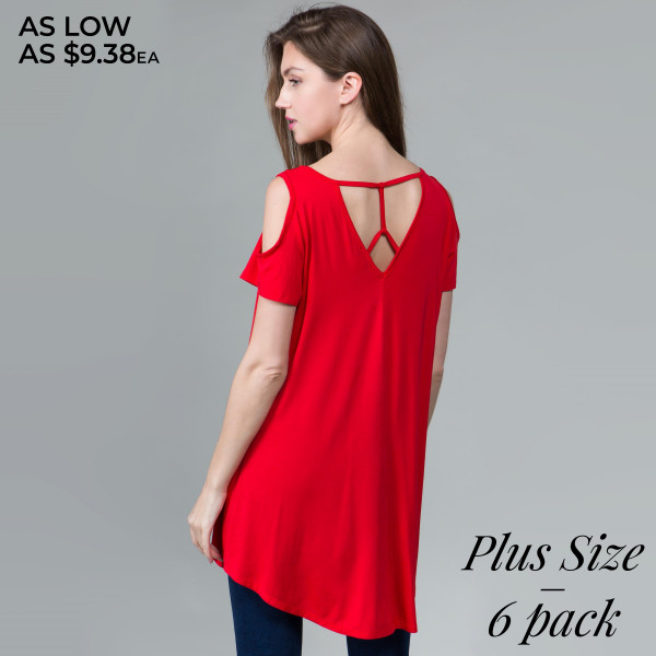 This basic dress is highly versatile and includes a scoop neckline, modal cold shoulders, and a criss cross back design. 95% rayon- 5% spandex. Comes in 6 pack. Breakdown: 2-1xl, 2-2xl, 2-3xl.
