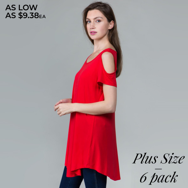 This basic tunic dress looks and feels amazing.it's highly versatile with back out details. 95% rayon- 5 % spandex. Comes in 6 pack. Breakdown: 2-1xl, 2-2xl, 2-3xl.