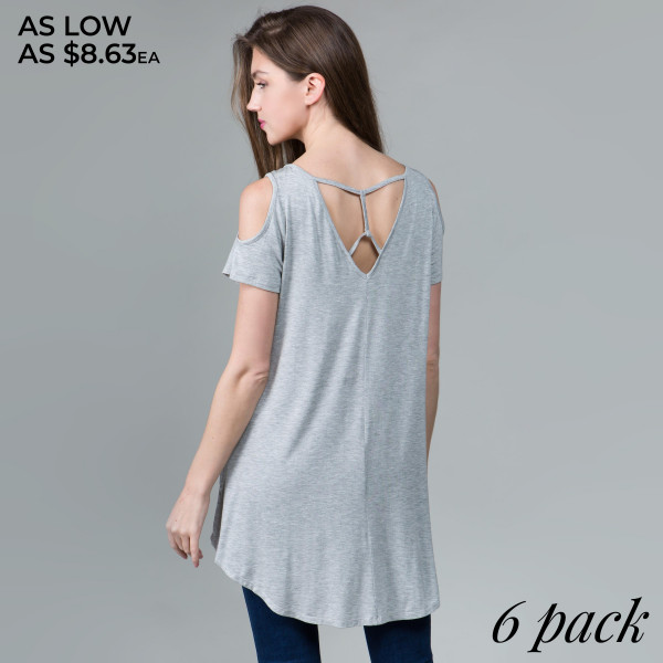 This basic tunic dress looks and feels amazing.it's highly versatile with back out details. 95% rayon- 5 % spandex. Comes in 6 pack. Breakdown: 1S 2M 2L XL.