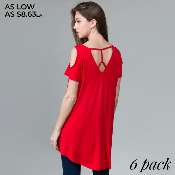 This basic tunic dress looks and feels amazing. It's highly versatile with modal cold shoulder sleeves and cutout back detail. 95% rayon- 5% spandex. Comes in 6 pack. Breakdown: 1S 2M 2L 1XL.