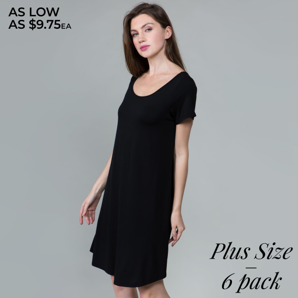This basic tunic dress looks and feels amazing.it's highly versatile 95% rayon- 5 % spandex. Comes in 6 pack. Breakdown  2-1xl, 2-2xl, 2-3xl.