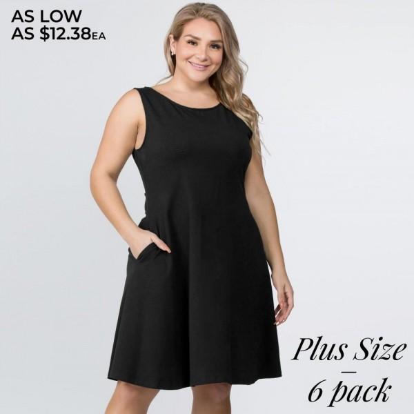 This adorable plus size a-line dress features a sleeveless silhouette and two side pockets for carrying loose items.   • Sleeveless, round neck  • Two functional pockets at hips • A-line silhouette  • Knee length hem  • Stretchy and soft  • Imported  Pack Breakdown: 6pcs / pack  Sizes: 2-XL / 2-1X / 2-2X  Composition: 92% Rayon, 8% Spandex