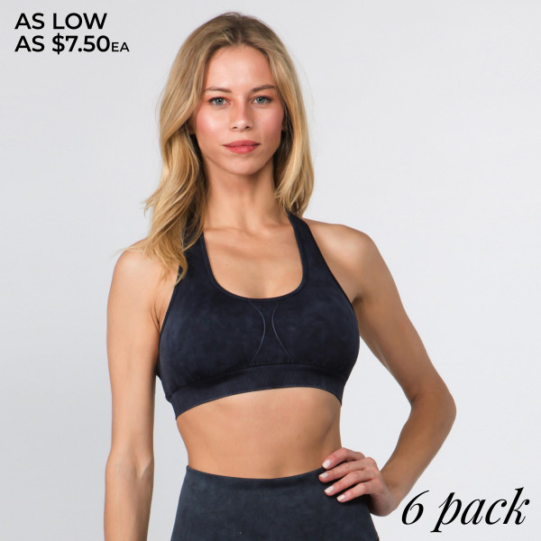 From lifting to dancing in zumba class, this seamless active bra will keep you supported and stylish during your workout!   • Scoop Neck  • Premium vintage wash dye throughout  • Racerback design  • Removable padding provides support & shaping  • Soft and stretchy  • Pull Over Style  • Compressive Fit   Composition: 92% Nylon, 8% Spandex   Pack Breakdown: 6pcs/pack. 2S: 2M: 2L