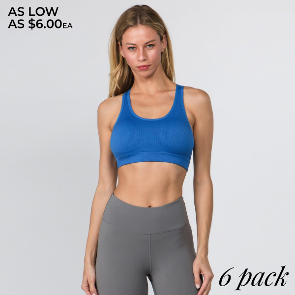 Feel pretty as you go into downward dog in yoga class or swaying to the music at a festival, this workout bra features a simple design on the front and delicate macrame detail on the back.   • Scoop Neck  • Removable padding shapes & supports  • Rib knit texture  • Macrame cut out back detail  • Seamless design  • Soft and stretchy  • Pull Over Style  • Compressive Fit   Composition: 92% Nylon, 8% Spandex   Pack Breakdown: 6pcs/pack. 2S: 2M: 2L