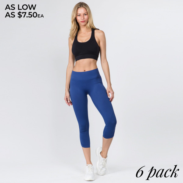 The perfect look for your next yoga or pilates class, these Italian made seamless high rise leggings feature a slimming waistband, cinched ankle detail for an added fashion element, and ribbed texture detailing throughout to hold you in and give you a streamlined look.   • High rise elasticized waistband  • Rib knit texture detailing throughout  • Cinched ankle detail  • Non-chafe seams for support & comfort along inner leg and triangle crotch gusset  • Stretchy and soft  • Moisture wicking fabric   Composition: 92% Nylon, 8% Spandex   Machine Wash w/ Like Colors, Do Not Bleach, Hang Dry   Pack Breakdown: 6pcs/pack. 2S: 2M: 2L