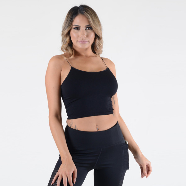 Women's solid seamless crop camisole.  • Soft, comfortable thin straps • Cropped • Soft and stretchy • Seamless design • Perfect for layering • Very Stretchy • One Size Fits Most, Mid Rise • Fits like a Glove • Hand Wash Cold, Hang Dry • Imported  - One size fits most 0-14 - 92% Nylon, 8% Spandex