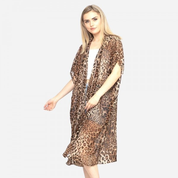 Brown animal print kimono. 29X45 in dimensions and 100% polyester.