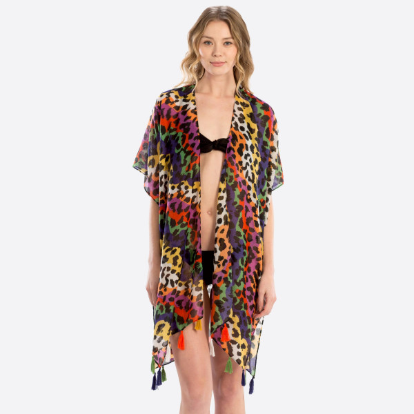 Multi colored leopard coverup. 35.4X70.8. 100% polyester.