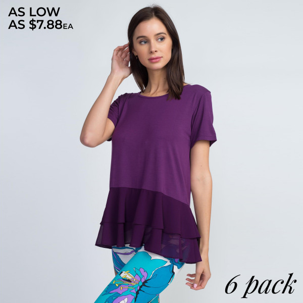 The classic t-shirt gets a chic update with the addition of chiffon ruffles to add a flounce to your weekend style.   • Short sleeves and scoop neck  • Chiffon ruffled hem  • Soft and stretchy  • Hand Wash, Do Not Bleach, TUmble Dry  • Imported   Content: 95% Rayon, 5% Spandex   Pack Breakdown: 6pcs/pack. 2S: 2M: 2L
