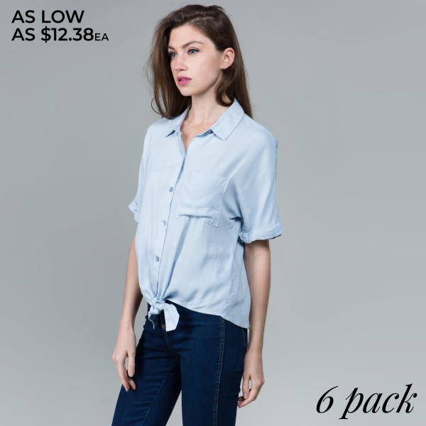 Light weight button up  shirt with collar and waist tie. 100% rayon. Comes in 6 pack. Breakdown S-2, M-2, L-2.