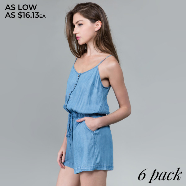 Denim camisole romper with buttons and waist tie.  Comes in 6 pack. Breakdown S-2, M-2, L-2.