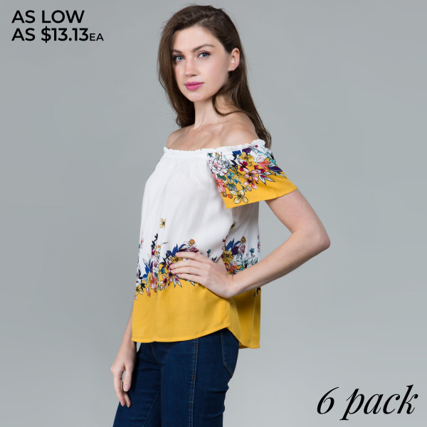 Short sleeve floral tops. Wear on or off the shoulders. 100% rayon.  Comes in 6 pack. S-2, M-2, L-2.