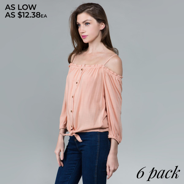 Light weight button up off shoulder camisole top with 3/4 sleeves.   Comes in 6 pack. Breakdown S-2, M-2, L-2.