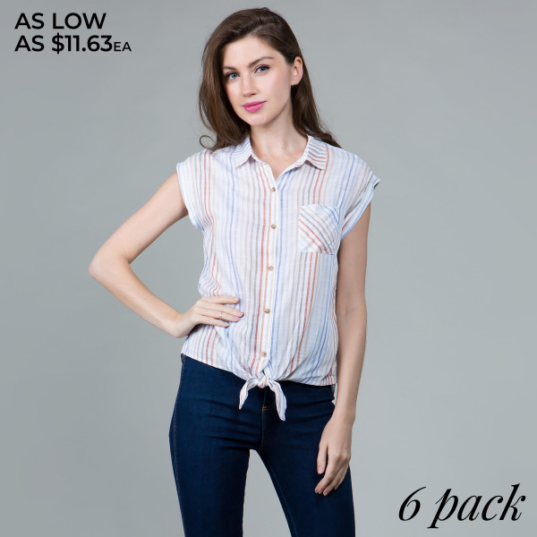 Light weight button up short sleeve shirt with collar and waist tie. 100% rayon. Comes in 6 pack. Breakdown S-2, M-2, L-2.