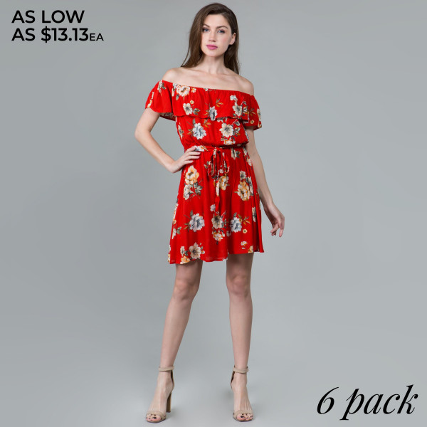 Where this floral dress two ways off or on the shoulders with ruffles with waist tie for perfect fit. 100% rayon.  Comes in 6 pack. Breakdown S-2, M-2, L-2.