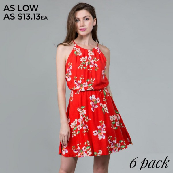Light weight camisole floral dress. Comes in 6 pack. Breakdown S-2, M-2, L-2.