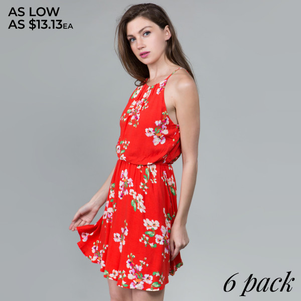 Light weight camisole floral dress. Comes in 6 pack. Breakdown S-2, M-2, L-2.  100% rayon.