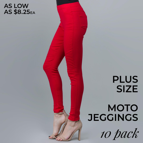 These Junior Plus jeggings featuring a Moto construction, back pockets, and an elastic waistband, and woven super stretchy twill skinny pull on style are a wardrobe essential. Wear these with a dress shirt and a sexy pair of heels for a classy going out look, or an oversized top and a pair of sneakers for a casual day ensemble.  PACK SIZE: 5-1X/2X, 5-2X/3X Please note, these run small. See size chart.  60% Cotton 35% Nylon 5% Spandex