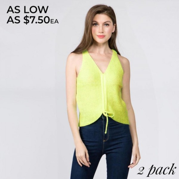 Knit vest with drawstring for adjustment. 55% cotton-45% acrylic.