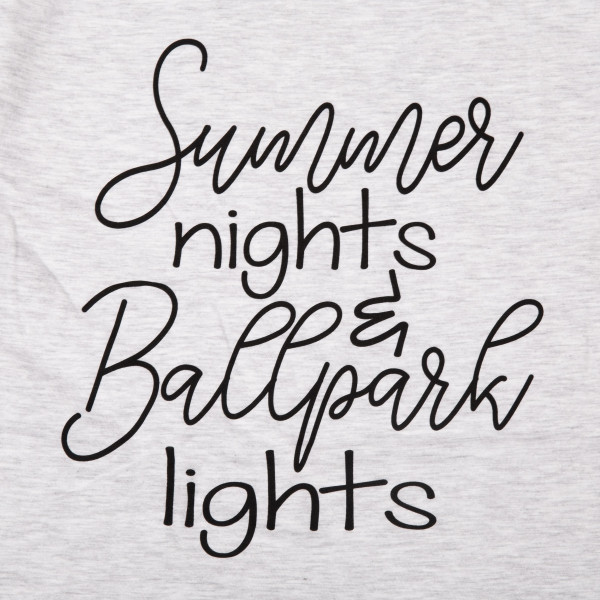 Summer nights. Short Sleeve Boutique Graphic Tee. These t-shirts are sold in a 6 pack. S:1 M:2 L:2 XL:1 35% Cotton 65% Polyester Brand: AMERICAN APPAREL