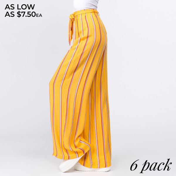 Gorgeous striped ladies rayon challis paper bag pants with fabric waistband. 100% rayon. Comes in 6 pack- Breakdown: 1S,2M,2L,1XL.