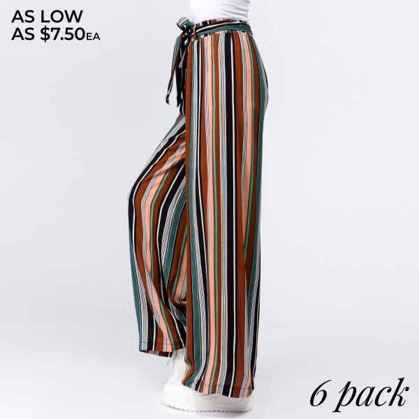 Gorgeous striped ladies rayon challis paper bag pants with fabric waistband. 100% rayon.