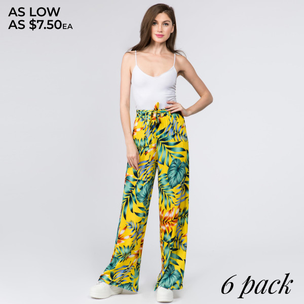 Gorgeous tropical tree pants with waist tie. Comes in a 6 pack. Breakdown: 1S,2M,2L,1XL. 100% RAYON