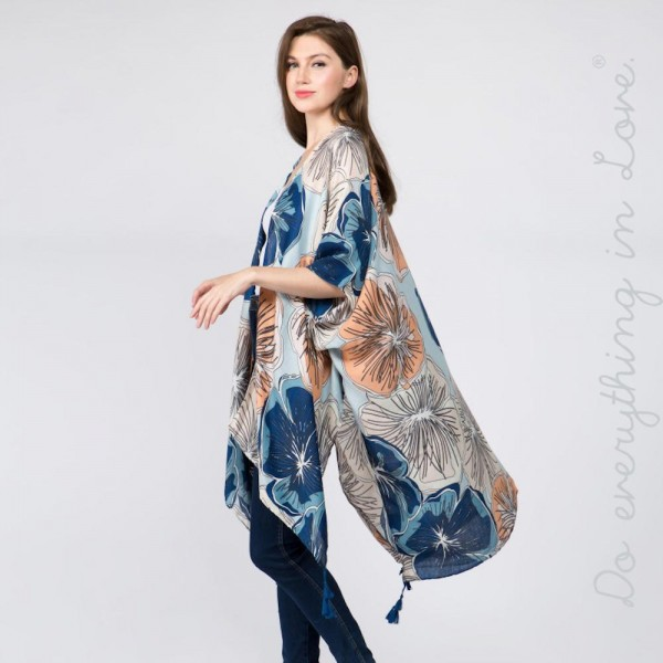 Large flower print kimono. 100% polyester. One size fits most 0-14.