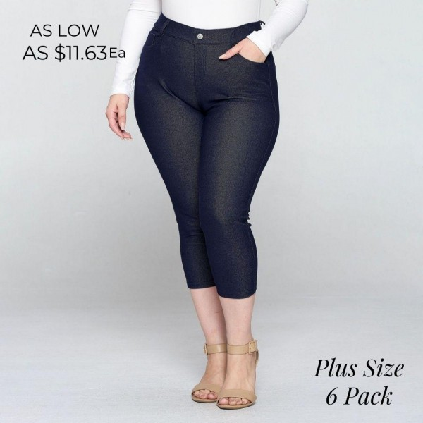 This popular 5-pocket plus size capri jegging has a classic silhouette. It is smooth, stretchy, and fits like a glove!   - Light fabric sheen - Jean-style construction - Lightweight, breathable cotton-blend material for all day comfort - Belt loops with 5 functional pockets - Super stretchy - Pull-up style  Pack Breakdown: 6pcs / pack  Sizes: 2-XL / 2-1X / 2-2X  Composition: 68% Cotton, 27% Polyester, 5% Spandex