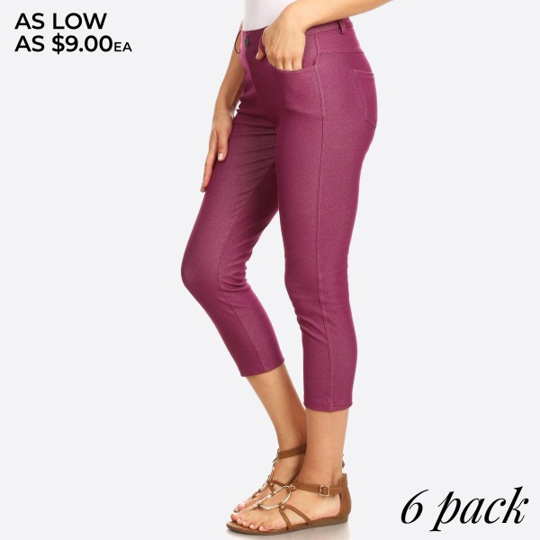 The Original is your standard 5-pocket capri jegging. With a classic silhouette construction, the Original is smooth, stretchy, and fits like a glove.  -Capri jeggings featuring a light sheen and jean-style construction.  -Lightweight, breathable cotton-blend material for all day comfort.  -Belt loops with 5 functional pockets.  -Super stretchy  -Pull up style   Composition: 68% Cotton, 27% Polyester, 5% Spandex.   Pack Breakdown: 6pcs/pack. 2S: 2M: 2L.