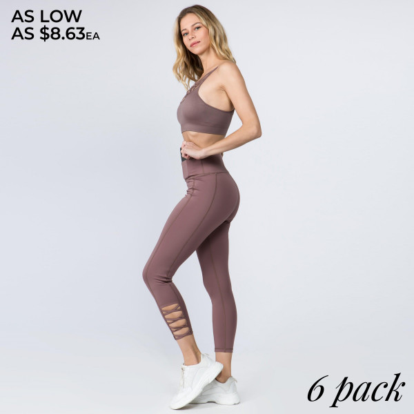 The perfect look for your next pilates class, these easy to pull on active leggings feature an eye-catching criss cross ankle detail and an all-over supportive fit. Wear these leggings for your daily morning run or low-key days relaxing at home!   -Reinforced, elastic waistband  -High rise style  -High quality comfort and stretch fabric  -Smoothing seams offer no chaffing along legs/triangle crotch gusset  -Sweat wick fibers draw sweat off your skin for a cool wear  -Lightweight  -Imported   Composition:  88% Polyester, 12% Spandex.   Pack Breakdown: 6pcs/pack. 2S: 2M: 2L.