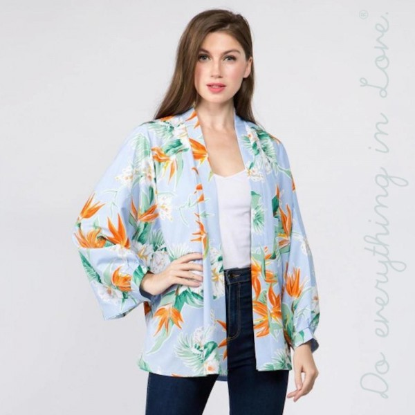 Floral print cardigan. 100% polyester. One size fits most 0-14.