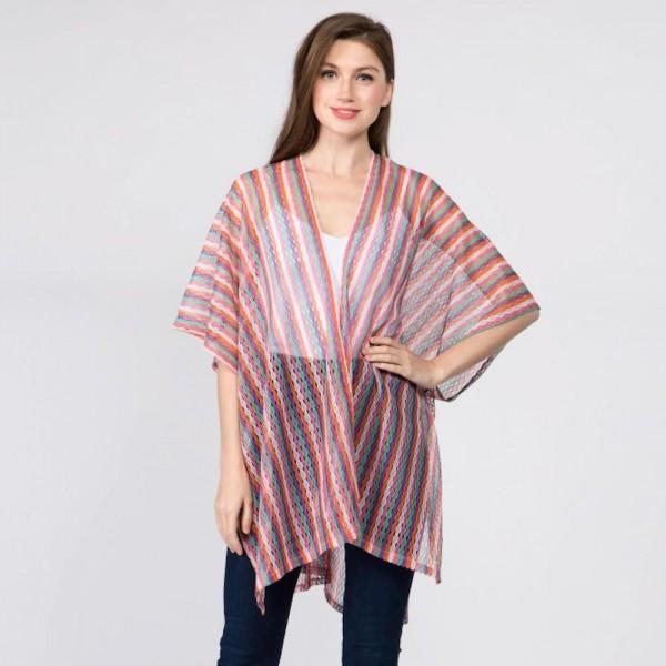 Multi color striped kimono. 100% polyester. One size fits most 0-14.