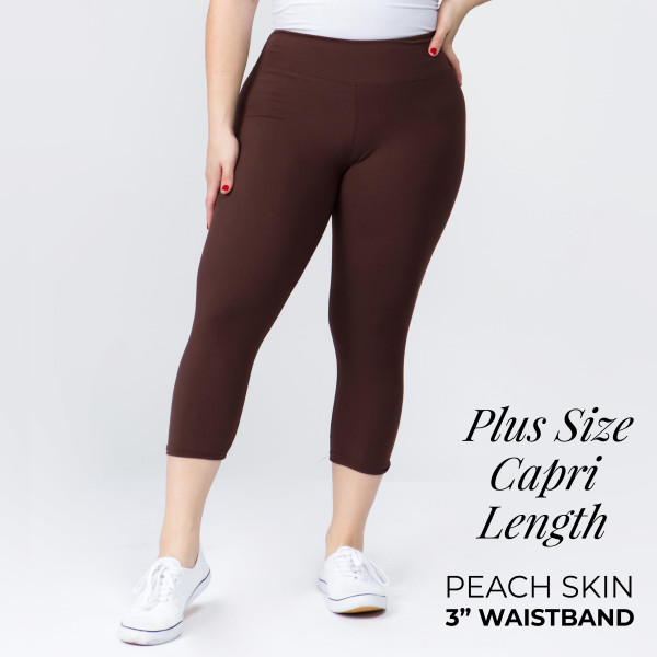 "These plus size New Mix Brand peach skin leggings are seamless, chic, and a must-have for every wardrobe. These lightweight, capri leggings have a 3"" waistband. They are versatile, perfect for layering, and available in many colors. 92% Polyester 8% Spandex. One size, fits US women's 16-20."