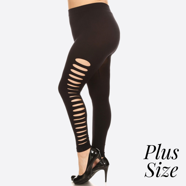 These sexy leggings are an instant day-to-night essential. The side ripped design is cool and fulfills a strong sense of punk style. 